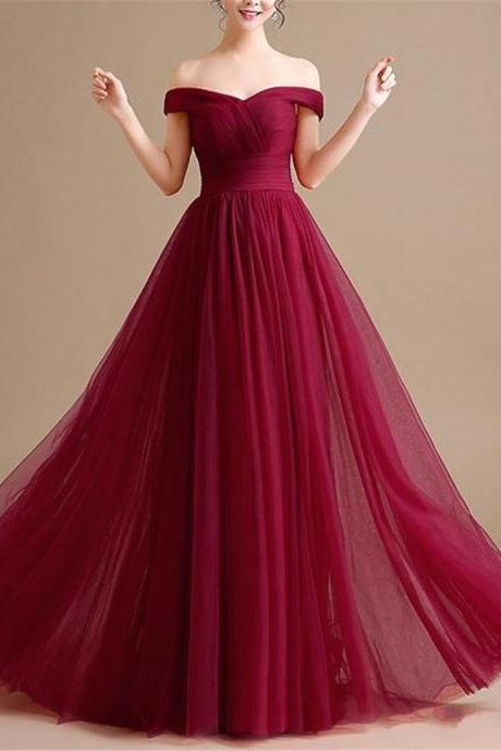 Burgundy Prom Dress,Sexy Off the Shoulder Prom Dress Evening Gowns,A-line Long Prom Party Dress Custom Made